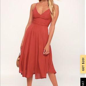 LULU's Troulos Rust Red Midi Dress
